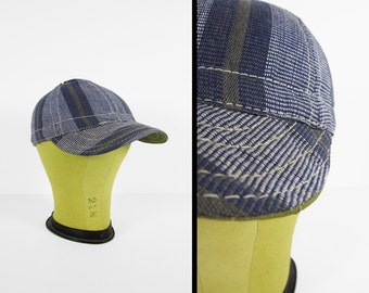 Vintage Canvas Welder's Cap Blue 1960s NOS Striped Deadstock Made in USA - Size 6 1/2