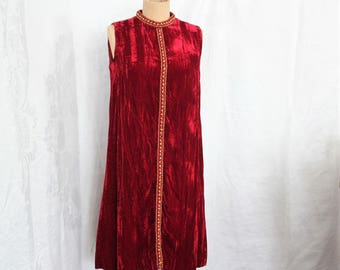 Vintage 1960's Red Velvet Mod Shift Dress With Brass Button Trim