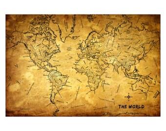 WORLD Vintage Map 5G - Handmade Leather Journal / Sketchbook - Travel Art