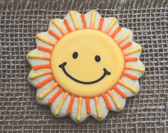 Sunshine Party Favors / 1st Birthday Favors / Sunshine Favors / Smiley Sun Favor / Happy Sun Favors / Smiling Sun Sugar Cookies - 12 cookies