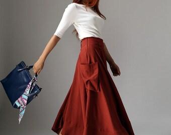 pocket skirts, lagenlook skirt, linen skirt, skirt with pockets, long skirt boho, maxi skirt, rust red skirt, summer skirt, gift  1044