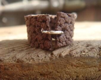 Leather Ring - Boho Ring - Brown Leather Ring - Boho Leather Ring - Leather Band - Minimalist Jewelry - Unisex