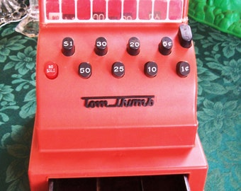 Tom Thumb red plastic cash register