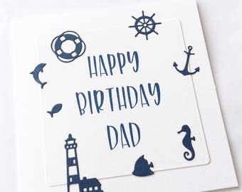 Nautical birthday card for dad navy birthday cards gift for dad gift for him handmade birthday gift personalised gift