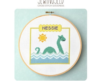 Nessie Cross Stitch Pattern, Loch Ness Monster Counted Cross Stitch Pattern, Instant Download, Sea Monster