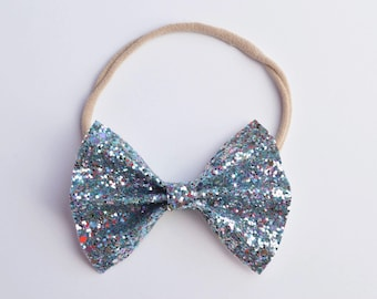 Berry Blue Glitter Bow