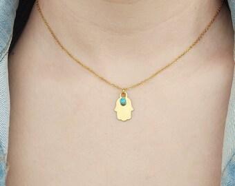 Dainty turquoise fatima hamsa hand necklace, hamsa hand jewelry, hamsa hand necklace gold, layered necklace