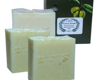 3 x CARIA Pure & Simple Soap Bar All Natural Olive Coconut Oil Cocoa Butter