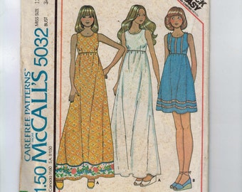 1970s Vintage Sewing Pattern McCalls 5032 Easy Sundress High Waist Maxi Size 12 Bust 34 1976 70s