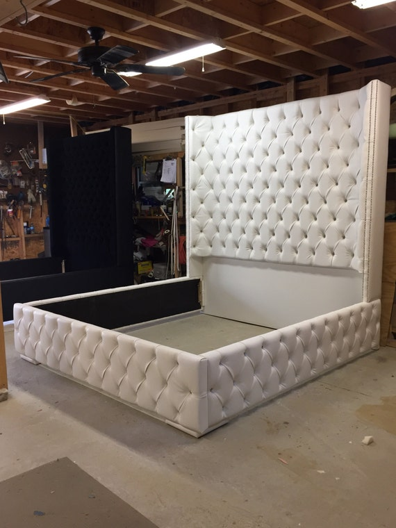 king size tufted bed luxurious wingback tufted bed white bed. Black Bedroom Furniture Sets. Home Design Ideas