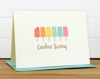 Personalized Stationery Set / Personalized Stationary Set - ICE POP Custom Personalized Note Card Set - Kids Stationery Popsicle