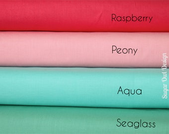 Cotton Fabric Set - Riley Blake Solids - Green Fabric , Coral Pink Fabric , Aqua Fabric