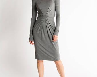 Jersey Drape Dress / Midi Dress / Casual Dress / Elegant Wear / Long Sleeve Dress / Party Dress / Marcellamoda - MD0927