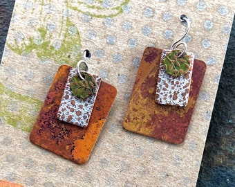 Layered and Patterned Copper Earrings