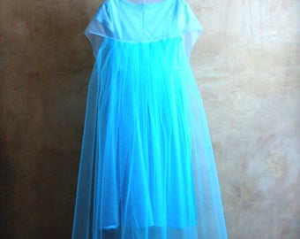 Elsa girl dress, Boho flower girl gown, turquoise tulle train detacable, princess elegant outfit, baby girl unique bday suit made in Italy