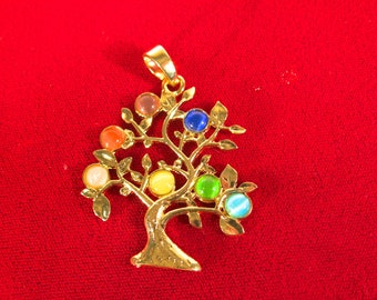 "1pc ""rainbow tree"" pendant in gold style (BC1381)"