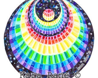 Cosmic Circle, Rainbow Angel (smaller), Window Cling, EcoFriendly, Crescent Moon, Affordable gift, Spiritual, Psychedelic, Rainbow colors