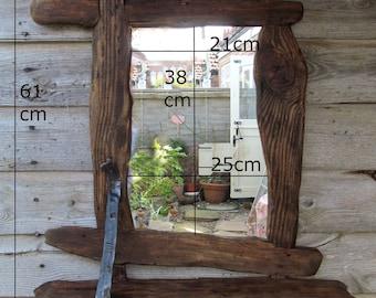 Driftwood/rustic style,mirror & shelf in recycled pine .Medium dark beeswax finish