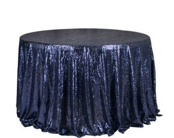 1pcs Navy Blue Glitter Sequin Tablecloth Cover Wedding Engagement Anniversary Reception Ceremony Bouquet Birthday Wedding Cake Table Cover