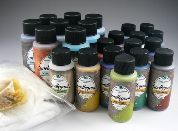 Metal patinas kit Swellegant, the best dealioof all full sized to get you started for use on polymer, metal, plaster, resin, wood, and more