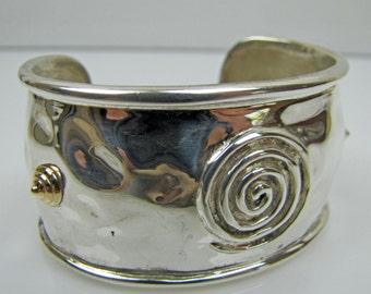 Sterling Silver 14K Gold Modernist Cuff Bracelet. Modern Etruscan Roman Centurion Bangle. Mid Mod Statement Jewelry