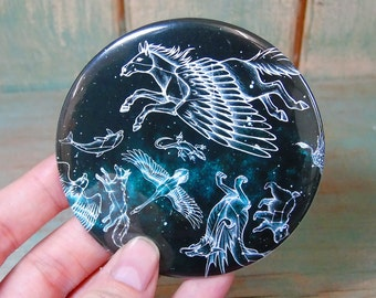 CLEARANCE SALE Midnight Menagerie Illustration Pocket Mirror