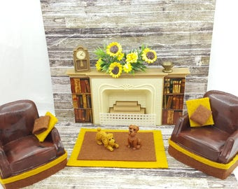 Plasco Fireplace and Arm chairs  Doll House Toy  Plastic  Livingroom Den Cozy Decor Miniature