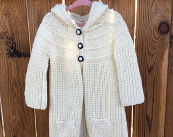 Knitted Hooded Children's Girl Sweater 2 to 3 years old