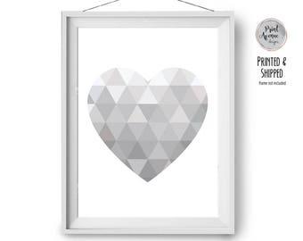 Grey Love Heart Print, Geometric Poster, Geometric Heart Art, Modern Home Decor, Minimal Scandinavian Print, A2 Nursery Art, Print Avenue