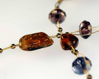Necklace with Citrine, Silver Beads and Closure, Swarovski Crystals
