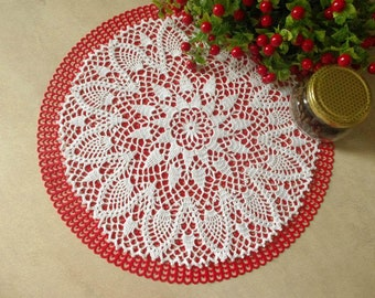 Pineapple crochet doily Round doily Table decoration Large crochet doily Lace doily 436