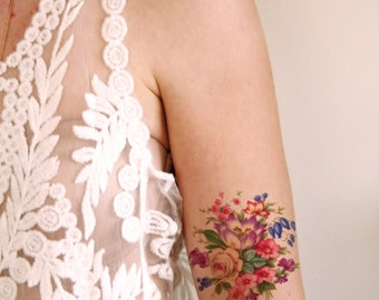 Colorful vintage floral temporary tattoo / vintage temporary tattoo / flower temporary tattoo / bohemian temporary tattoo / fake tattoo