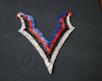 13) Patriotic Neckline Sequin Applique