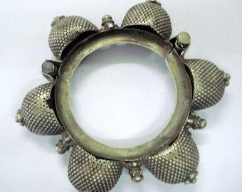 vintage antique tribal old silver bangle bracelet traditional bellydance jewelry