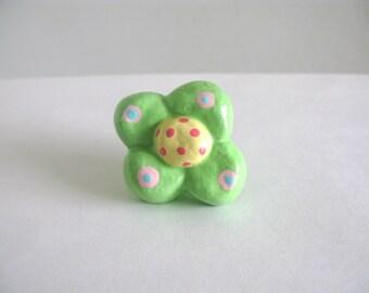 Blume Knob - grün - Keramik Kommode Schublade Knopf ziehen Mädchen Zimmer