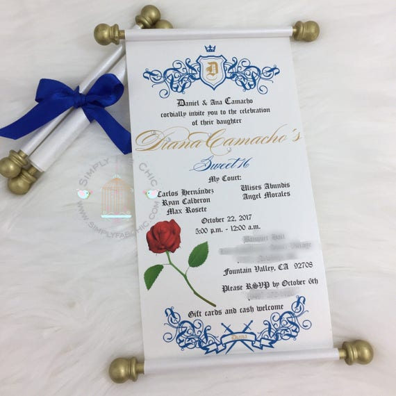 Beauty and the beast scroll invitation birthday wedding beauty and the beast scroll invitation birthday wedding invitation handmade sweet 16 invitation quinceanera set of 10 filmwisefo Images