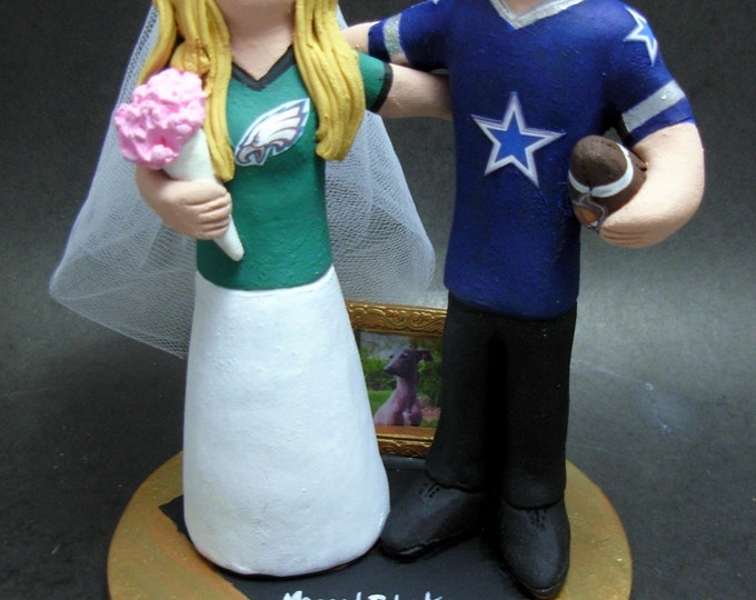 Philadelphia Eagles Bride Wedding Cake Topper, Dallas Cowboys Groom Wedding Cake Topper, Football Team Bride and Groom Wedding Cake Topper