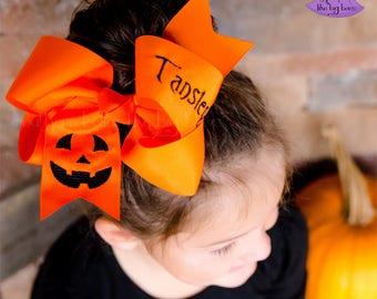 Big Orange Jack O Lantern Bow, Embroidered Jack-O-Lantern Hair Bow, Orange and Black Bow for Halloween, Big Halloween Bow, Embroidered Bow
