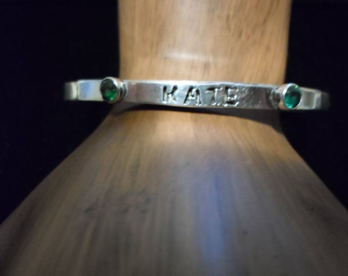 name cuff  bracelet sterling silver w/birthstones