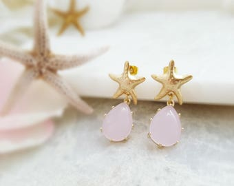 Starfish Earrings Gold - Pink Teardrop Earrings - Pink Opal Earrings - Pink Dangle Earrings - Starfish Studs - Beach Bridesmaid Gift E2593