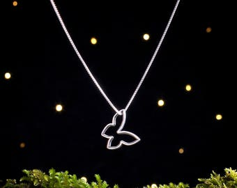 Sterling Silver Mod Floating Butterfly - Double Sided - (Pendant or Necklace)