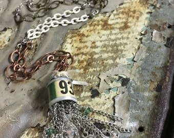 Vintage Farm Tag and Tassel Necklace