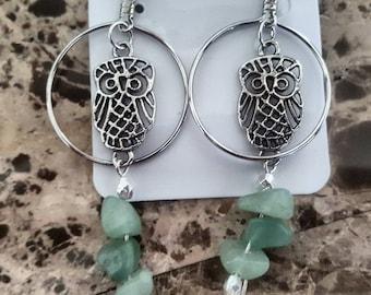 Aventurine stone owl earrings