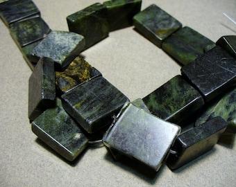 Serpentine Jade Gemstones Dark Green Rectangular  18x14MM Full Strand