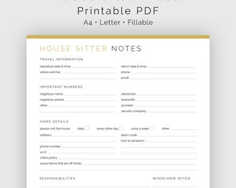 House Sitter Notes - Fillable - Printable PDF - Household Management, Travel Planner - Instant Download