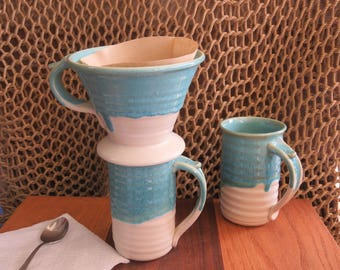 Pottery Pour Over Coffee Dripper in Turquoise Glaze