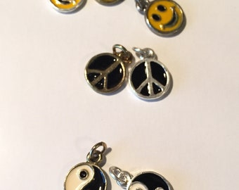 Smiley face, Yinyang sign & Peace sign Charms