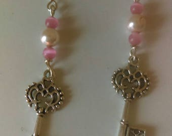 Key earrings, scroll key earrings, key dangle earrings, pink earrings, silver key, key jewelry