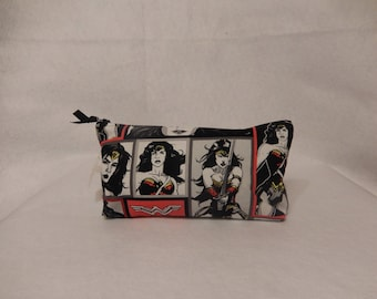 Wonder Woman Fabric Clutch/Cosmetic Stand Up Bag