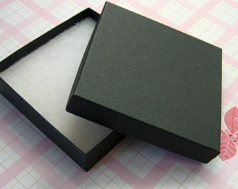 10 Matte Black Jewelry Boxes Cotton Filled High Quality 3.5 x 3.5 x 7/8 inch - Large